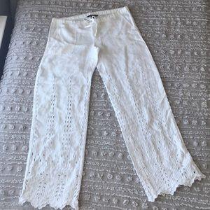 Victoria's Secret White eyelet linen pants size 0